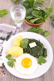 spinach,egg and potato