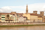 Historic buildings in Florence near Arno river