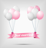 ribbon with text just married, hanging on balloons
