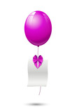 pink balloon with blank sheet and ribbon, background - illustrat