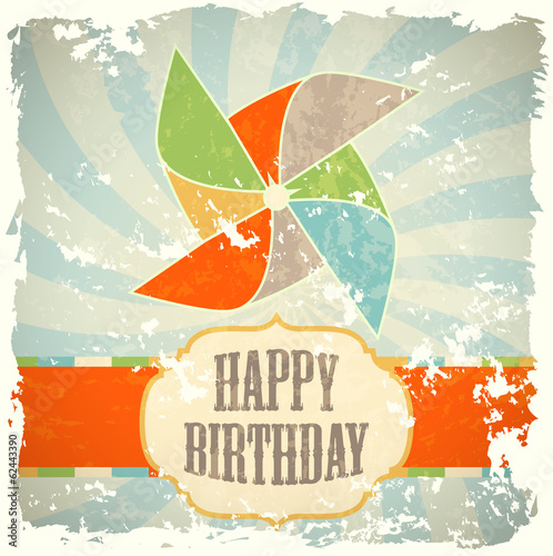 retro greeting birthday card with windmill, illustration
