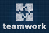 Teamwork concept with puzzle pieces on blueprint. Scribbled styl
