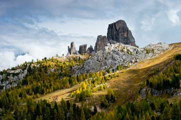 View of Cinque Torri in Eastern Dolomites