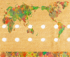 World map with hands on band aid