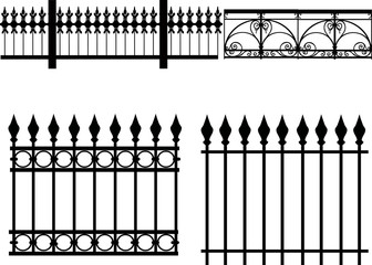 four decorated gates isolated on white