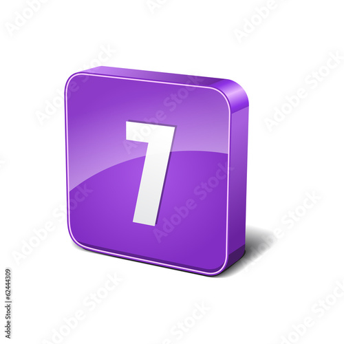7 Number 3d Rounded Corner Violet Vector Icon Button