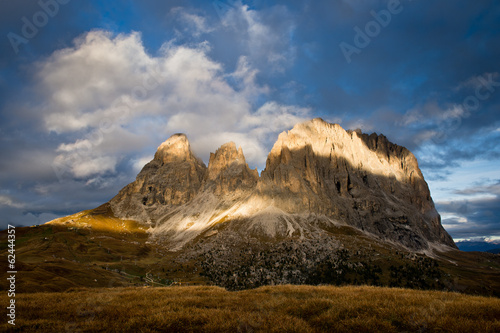 Sassolungo mountain near Val Gardena in Dolomites