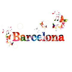"Colorful vector ""Barcelona&quo t; background with butterflies"