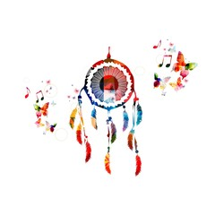 Colorful vector dream catcher background with butterflies