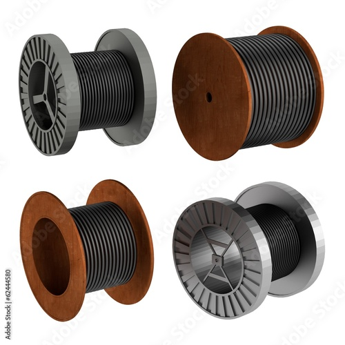 realistic 3d render of wire spools