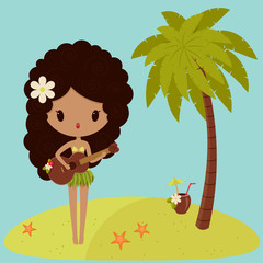 Hawaiian Hula dancer is singing