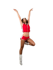 athletic young woman jumping