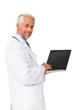 Portrait of a content male doctor using laptop