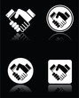 Handshake white icons set on black background