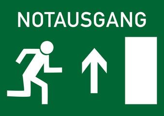 Schild Notausgang nach oben