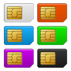 Sim Card Color Set. Vector Illustration