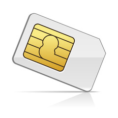 Sim Card on White Background