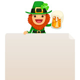 Leprechaun looking at blank poster on top
