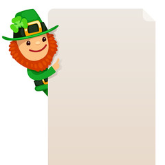Leprechaun looking at blank poster