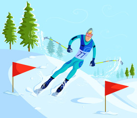 Skier Skiing on downhill