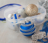 Container of  Christmas baubles and Christmas tree decorations
