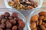 hazelnuts, walnuts and almonds