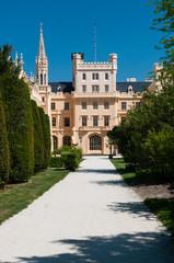 Pathway to famous Lednice Castle, Czech Republic.