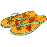 Vector Cartoon Orange Beach Slippers