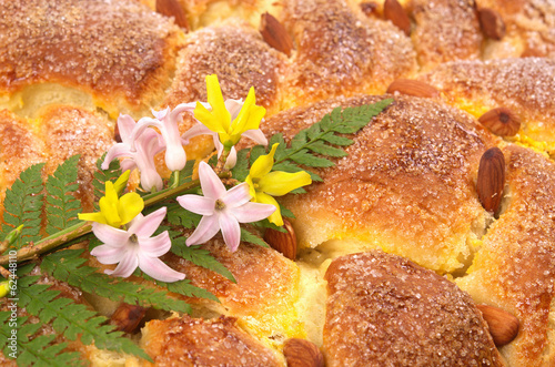 Delicious Easter cake with almonds,background