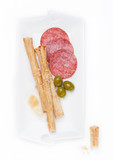 Grissini bread sticks with salami and cheese