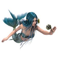 Blue Mermaid holding Sea Lily