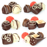 Assorted chocolate candies set on white background