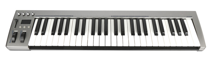 Electronic Midi Keyboard White background