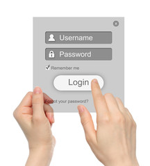 Women hands hold and touch login box on white background