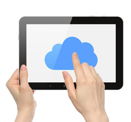 Women hands hold and touch tablet PC with cloud