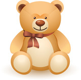 The brown bear toy with a bow