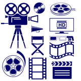 Movie icon set vector  illustration