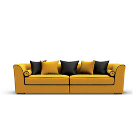 Isolated contemporary yellow sofa