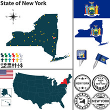 Papier Peint - Map of state New York, USA