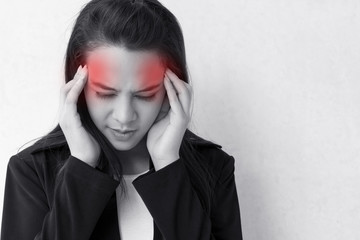 woman with headache, migraine, stress with red alert accent
