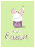 happy easter greeting card with bunny ears cupcake