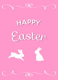 happy easter greeting card with bunnies on pink background