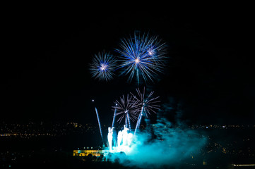 Fireworks over the historical castle in Brno, Czech Republic.