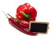 panneau et poivrons paprika rouge