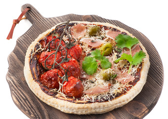Pizza prosciutto, cheese and tomatoes