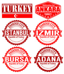 Turkey cities stamps