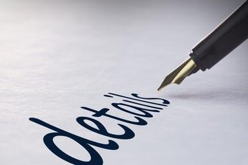 Fountain pen writing Details