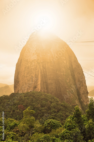 Evening view of Sugarloaf mountain Rio De Janerio Brazil