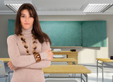Attractive brunette in a classroom