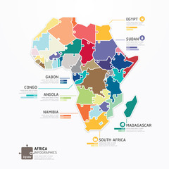 Africa Infographic Map Template jigsaw concept banner. vector il
